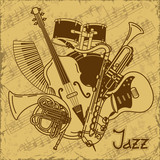 Fototapety Background with musical instruments