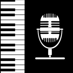 Music background with keyboard and microphone