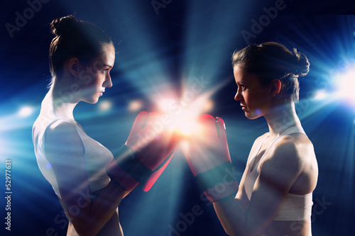 Two boxer women
