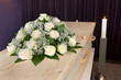 Flower arrangement on coffin