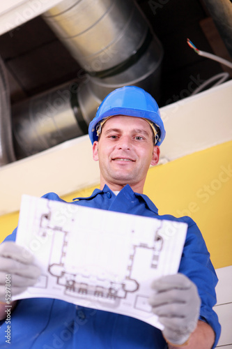 Engineer with a heating plan