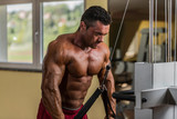 bodybuilder doing heavy weight exercise for triceps with cable poster