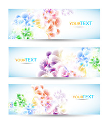 Set of three banners,  with colorful floral elements