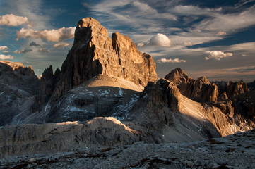 Dolomites mountain peak in the evening