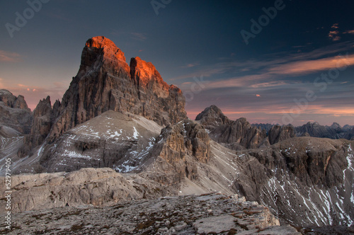 Last sun rays on the dolomites peak