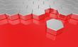 Sechseck Baustein Konzept - Silber Rot