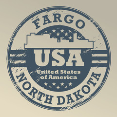 Grunge rubber stamp with name of North Dakota, Fargo, vector