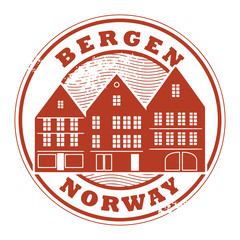Grunge rubber stamp with words Bergen, Norway inside, vector