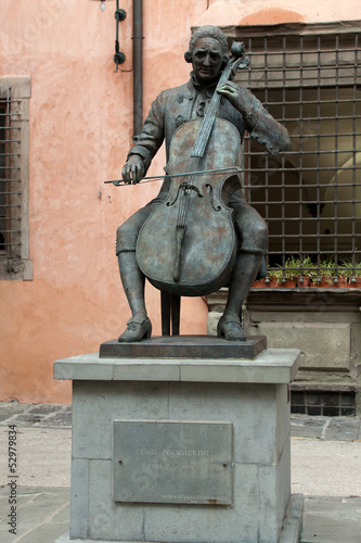 Bronze statue of Puccini in Lucca, Italy,