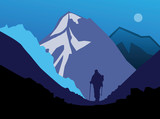 Hiker in mountains, vector illustration