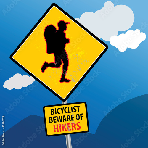 Bicyclist beware of hikers sign, vector illustration