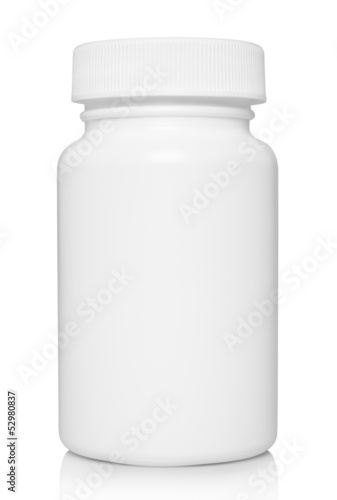White medical container on white background .