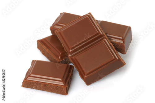 Candy Broken milk chocolate bar isolated on white background .