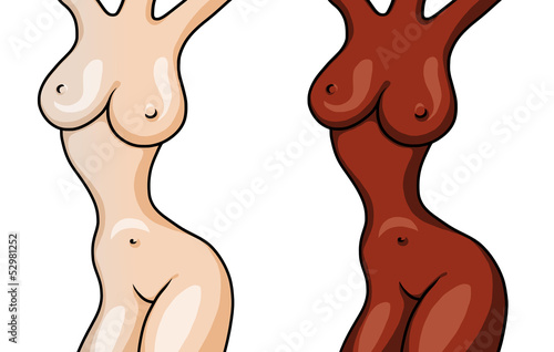 Figures of two naked beautiful girls isolated on white