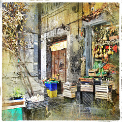 Napoli,Italy - old streets with small shop, artistic picture