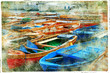 boats. artistic picture in painting style