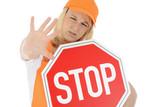 "Junge Bauarbeiterin ""Stop!"""