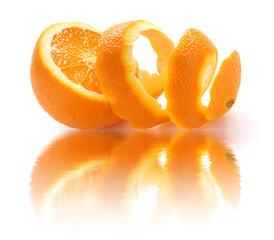peeled orange and reflection