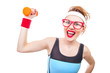 Funny woman with dumbbell, close-up