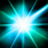 Blue luminous star. Lens flare effect. Vector