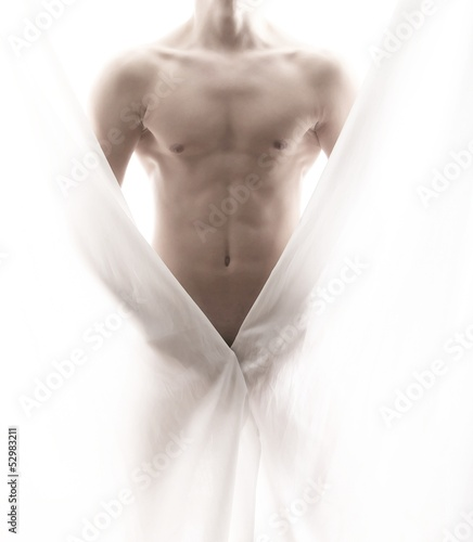 canvas print picture front of a partly nude male body