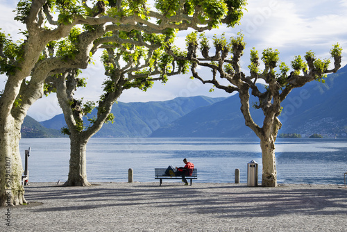 Romantic couple on a bench, Ascona, Ticino, Switzerland