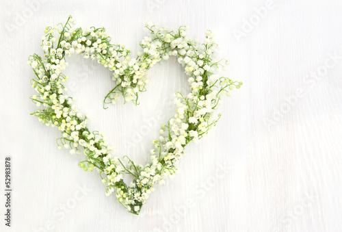 Deurstickers Lelietje van dalen Flower wreath of lilys of valley