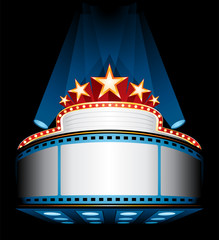 Cinema marquee with stars