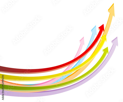Colorful arrows in white background