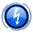 lightning circle blue glossy icon
