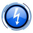 lightning circle blue glossy icon