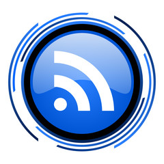 rss circle blue glossy icon