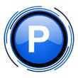 park circle blue glossy icon
