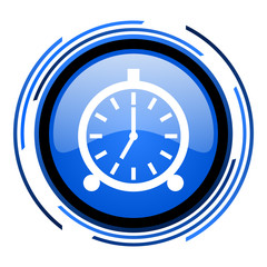 alarm clock circle blue glossy icon