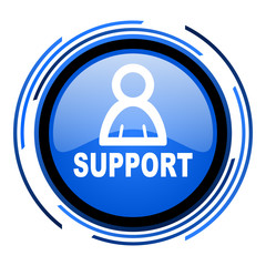 support circle blue glossy icon