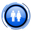 couple circle blue glossy icon