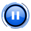 pause circle blue glossy icon