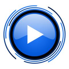 play circle blue glossy icon
