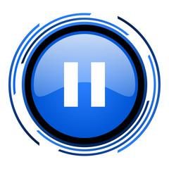 pause circle blue glossy icon