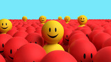Some 3d yellow men come out from a red crowd