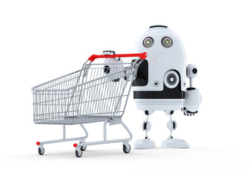 Robot with shopping cart.