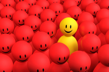 3d yellow man comes out from a red crowd