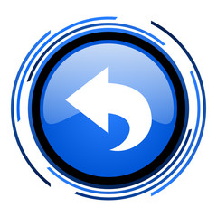 back circle blue glossy icon