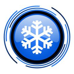 snowflake circle blue glossy icon