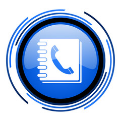 phonebook circle blue glossy icon