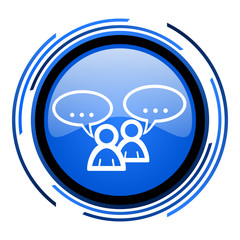 forum circle blue glossy icon