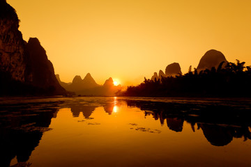 The China Guilin sunset raft
