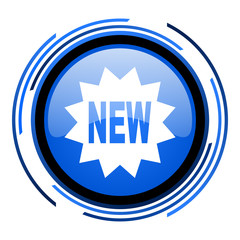 new circle blue glossy icon