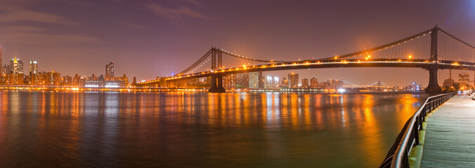New York City, Manhattan Bridge view from brooklyn