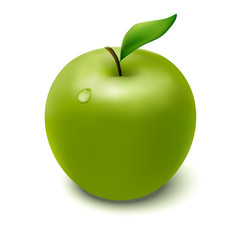 Vector green apple with droplet
